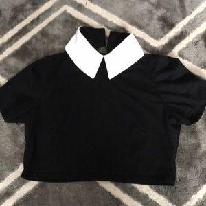 deandri Tops - Deandri Addams top in Black/White